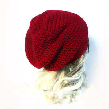 Red Beanie Slouchy Beanie Cranberry Dark Red Crochet Slouch Womens Hat Baggy hat Teen spring fashion