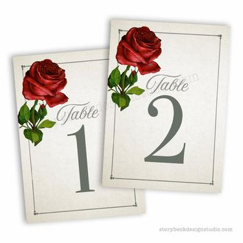 Classic Rose Wedding Table Numbers