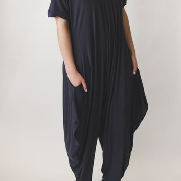 Harem Short Sleeve Jumpsuit - Charcoal Gray