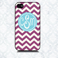 Monogrammed Chevron Personalized iPhone 4 Case, iPhone Cover