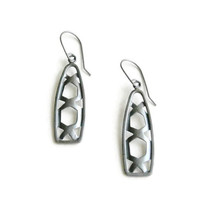 Geometric Silver Earrings - Inca Silver Earrings - Oxidized Dangle Earrings