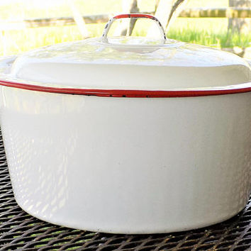 Enamelware Pan and Lid, Rustic Stock Pot, White and Red, Vintage Farmhouse