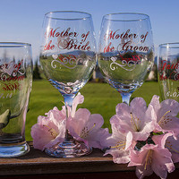 Mother of the Bride, Father of the Groom, Mother of the Groom, Father of the Bride beer glass, wine glass. Priced individually
