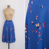 1940s Skirt - Vintage 40s Blue Novelty Print Skirt - Borboleta Skirt