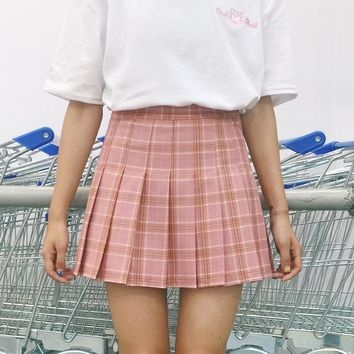 High Waist Plaid Pleated Skirts