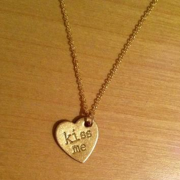 Kiss Me Gold Candy Heart / Conversation Heart Necklace by KulaKai