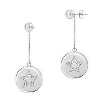 Diamond Star Disc Earrings : 14K White Gold - 0.30 CT Diamonds