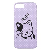 Cute Black and White Kitty Cat Waving Hello iPhone 8/7 Case