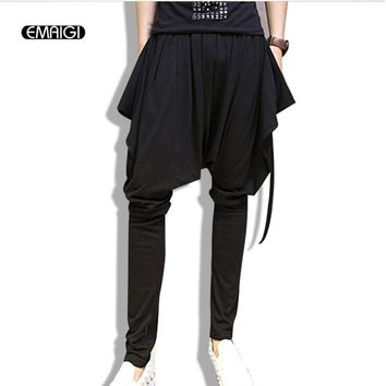 New Fashion Sweatpants male long Trousers Men Big Crotch Design Man punk hiphop Harem Pants stage clothes