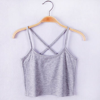 Cross Cropped Racer Back Top