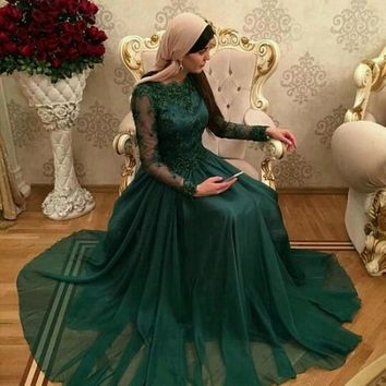 ZGS382 Dark Green Dubai Abaya Muslim Long Evening Dresses Appliques Long Sleeve Prom Gowns Party Dre