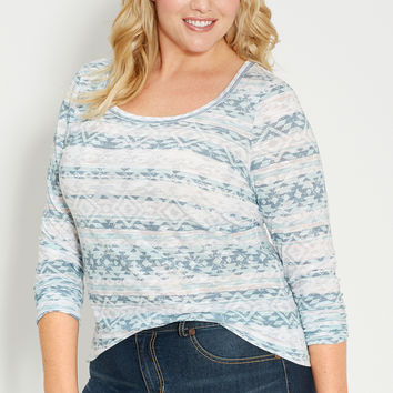 plus size burnout tee in ethnic print with long sleeves in frozen lake combo