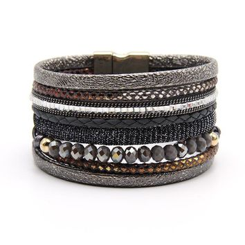 ZG Latest Glass Crystal Beads wide leather women bracelet in 4 colors