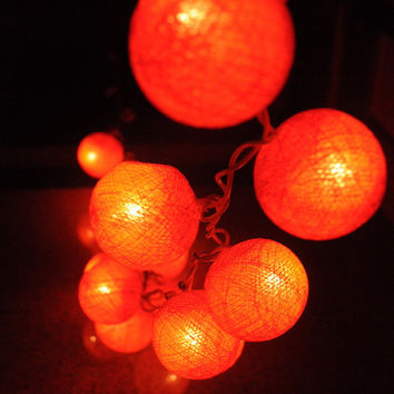 20 x Orange  cotton ball Bali string light patio decoration deco room bedroom wedding patio party Beach balcony
