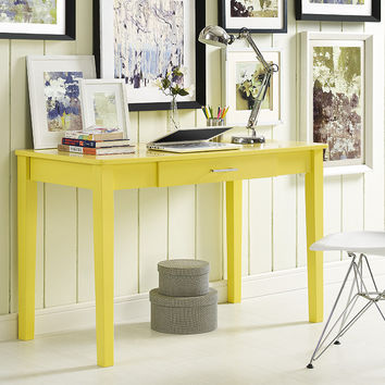 Midtown Wood Writing Desk - Yellow