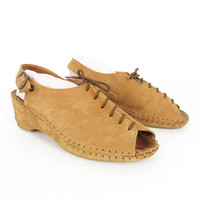Vintage Lace Up Clogs - Peep Toe Wedge Sandals - Slingback Shoes - Slides - Tan Suede Leather - Made in Italy - Womens EU 40 / US 9.5 - 10