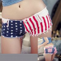 Low-waist denim flag shorts