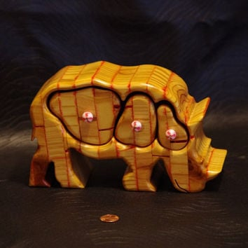 Red Striped Rhino bandsaw jewelry box by RambunctiousItems on Etsy