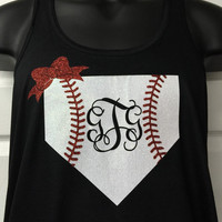 Monogrammed tank top glitter baseball home plate monogram flowy racer back tank top personalized tank top initials color choices on tank top