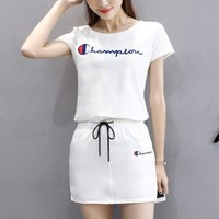 Champion embroidery women white short sleeve top Short skirt dress Two piece suit