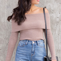 Mocha Knit Off The Shoulder Top