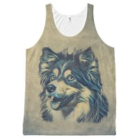 Shetland Sheepdog Painting All-Over Printed Tank All-Over Print Tank Top