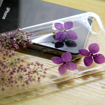 Unique Pressed flower Real Leaf Purple flowers Dried iphone 4s cases iphone 5s case iphone 5c Case Samsung galaxy note 3 s3 s4 s5 cover skin
