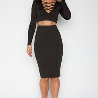 Lace Up Crop Top Skirt Set - Black
