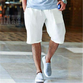 Summer Casual Man's Linen Shorts Handsome Fashion Style Men Quick drying Beach Shorts solid Plus Size M-2XL Popular 2016 New