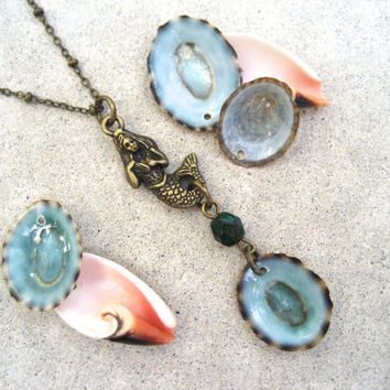 Mermaid Seashell Necklace Blue - Antiqued Brass - Ocean - Beach - Shell Necklace