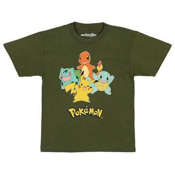 Pokemon Retro Starter Group Image Logo Licensed Kid's Youth T-Shirt - Green