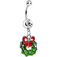 Crystalline Gem Merry Christmas Wreath Dangle Belly Ring | Body Candy Body Jewelry
