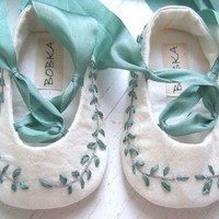 Organic Silk Jane Austen Ballet Shoes For Your Baby by BobkaBaby