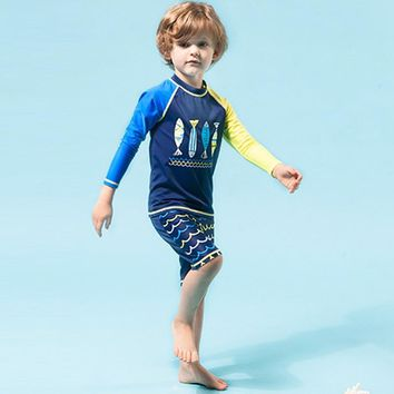 Summer Swimwear Baby Boy Clothes Fish Printed Tops+Pants+Hat 3pcs Set Swim Suit Hot Spring Bathing Summer Beach Clothing Costume