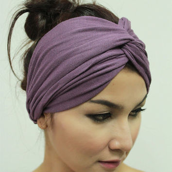 Purple Twist Turban Headband / Gypsy Headwrap Boho Violet