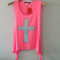 Chevron Zigzag Tank Top- CROSS