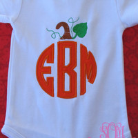 Fall- Monogram Pumpkin Infant Bodysuit or shirt