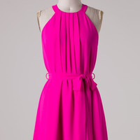 Hot Pink Pleated Dress