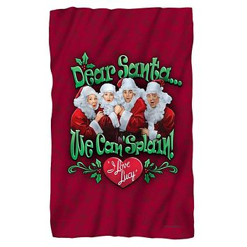 I Love Lucy Dear Santa Fleece Blanket