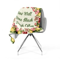 "NL Designs ""Live, Love, Laugh"" Floral Typography Fleece Throw Blanket"
