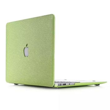 Ultra Slim Laoptop Case Silk Pattern Leather Cover Snap-on Shell Protective Skin For Macbook Air 13 11 Pro Retina 13 15 12''