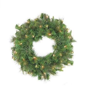 "24"" Pre-Lit Canyon Pine Artificial Christmas Wreath - Clear Lights"