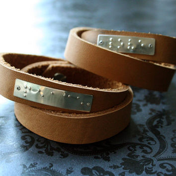 Sterling Braille Leather Wrap Bracelet by bLuGrnDesign on Etsy