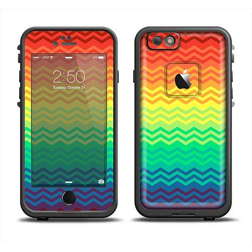 The Rainbow Thin Lined Chevron Pattern Apple iPhone 6 LifeProof Fre Case Skin Set