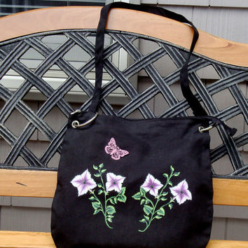 Hand Painted And beaded Messenger Bag With Flowers and Butterfly Charm
