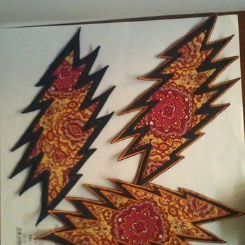 Psychedelic 13 Point Bolt Patch, Double Layered Handmade Grateful Dead Patches