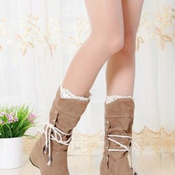 Inner Crochet and String Boots Camel