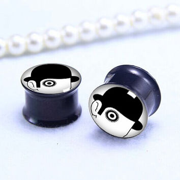 Hat men  plugs   , Screw on Gauge ear plugs ,  double flared  plugs,Black Titanium ear plugs ,Pricing body jewerly
