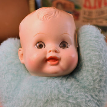Vintage 1960's Cuddle Toys by Douglas Plush Blue Baby Boy Doll - Made in USA