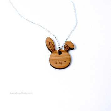 Bunny Pendant Cute Bamboo Laser Cut Wood Wooden Necklace Fun Rabbit Animal Jewelry Gifts For Friends Sister Girlfriend Teens Girls Her